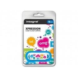 INTEGRAL Xpression 16GB USB 2.0 flashdisk, textový vzor INFD16GBXPRTXT