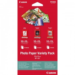 Canon Photo Paper Variety Pack VP-101, 5x PP201, 5x SG201, 10x...