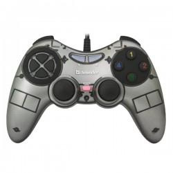 Gamepad Defender Zoom, 10tl., USB, šedý, vibračné, Windows...