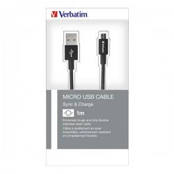 Kábel USB (2.0), USB A M- USB micro B M, 1m, čierny, Verbatim, box,...