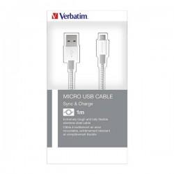 Kábel USB (2.0), USB A M- USB micro B M, 1m, strieborný, Verbatim,...