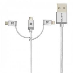 Kábel USB (2.0), USB A M- Lightning M + USB C M + MicroUSB M, 1.2m,...