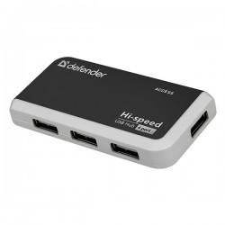 USB (2.0) hub 4-port, Quadro Infix, čierno-šedá, Defender, LED...