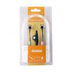 4World Kanálové slúchadla do uší + Mikrofón PC Basic jack 3.5mm 2m čierny 08489