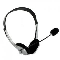 4World slúchadlá s mikrofónom strieborné, regulácia hlasitosti na kábli 02994