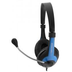 Esperanza EH158B ROOSTER Stereo slúchadlá s mikrofónom, ovl. hlasitosti, modré EH158B - 5901299908709