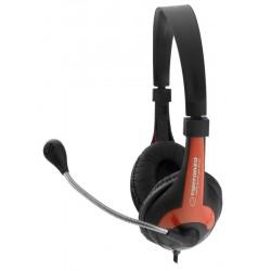 Esperanza EH158R ROOSTER Stereo slúchadlá s mikrofónom, ovl. hlasitosti, červené EH158R - 5901299908693
