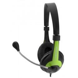 Esperanza EH158G ROOSTER Stereo slúchadlá s mikrofónom, ovl. hlasitosti, zelené EH158G - 5901299908716