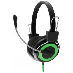 Esperanza EH152G FALCON Stereo slúchadlá s mikrofónom, ovl. hlasitosti, zelené EH152G - 5901299908563