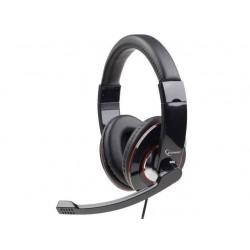 Gembird stereo slúchadlá a mikrofón s reguláciou hlasitosti, čierne MHS-001