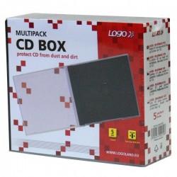 Box na 1 ks CD, priehľadný, čierny tray, Logo, 10,4 mm, 5-pack 42250