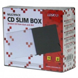 Box na 1 ks CD, priehľadný, čierny tray, tenký, Logo, 5,2mm,...