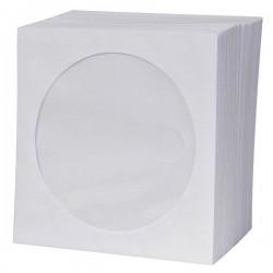 Obálka na 1 ks CD, papier, biela, s okienkom, Logo, 100-pack 21991