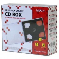 Box na 2 ks CD, priehľadný, čierny tray, Logo, 10,4 mm, 5-pack 42252