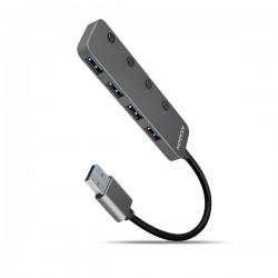 AXAGON HUE-MSA, 4x USB 3.2 Gen 1 SWITCH hub, kovový, micro USB nap....
