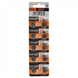 Batéria alkalická, LR43, 1.5V, Maxell, blister, 10-pack