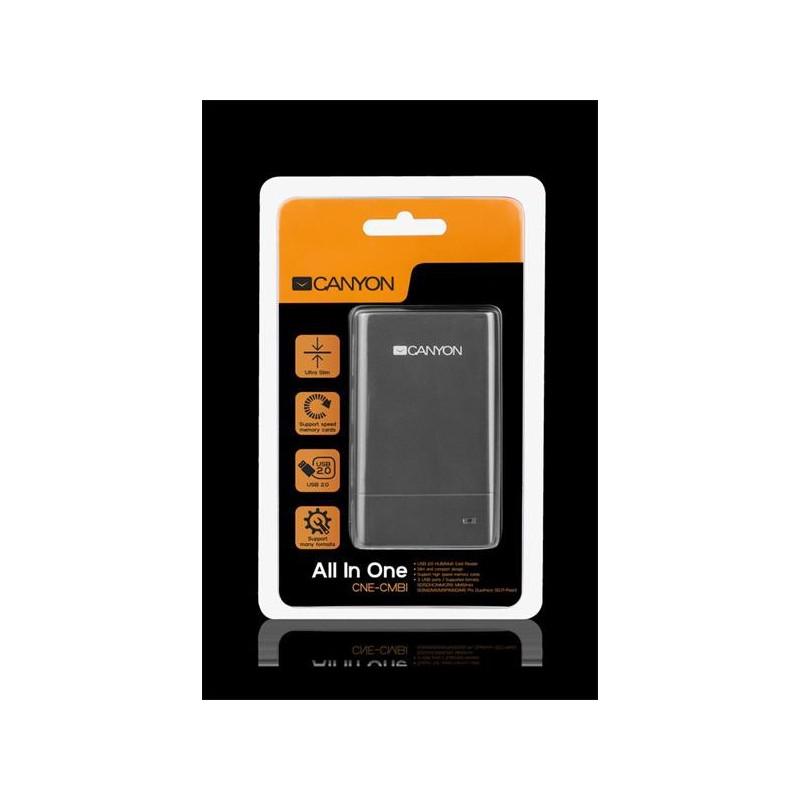 Canyon CNE-CMB1 Combo čítačka kariet/3-Port hub, USB2.0, externá , štíhla, šedá