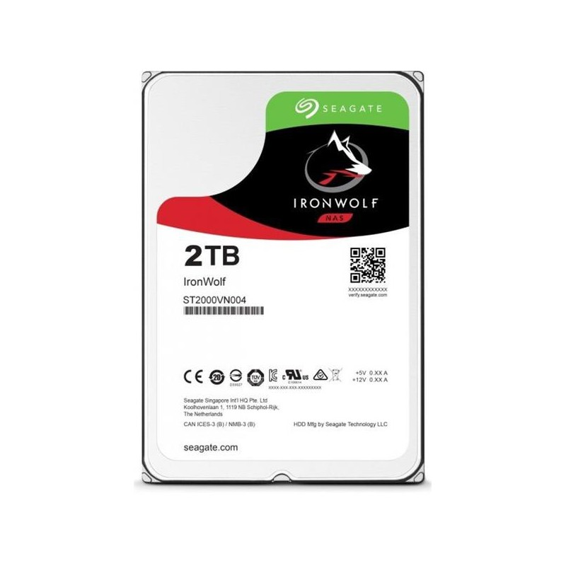 Seagate IronWolf NAS HDD 2TB 5900RPM 64MB SATA III 6Gbit/s ST2000VN004