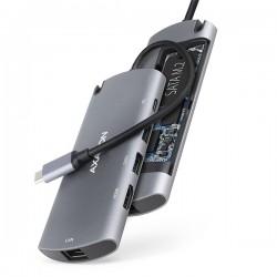 AXAGON HMC-6M2, USB 3.2 Gen 1 hub, 2x USB-A, HDMI, RJ-45 GLAN, SATA...