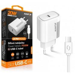Aligator POWER DELIVERY 20W, USB-C, bílá, USB-C/USB-C kabel CHPD0003
