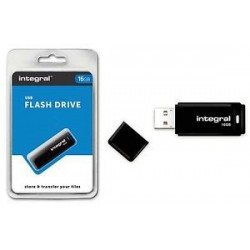 Integral USB 16GB Black, USB 2.0 with removable cap INFD16GBBLK