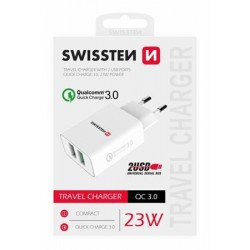 SWISSTEN SÍŤOVÝ ADAPTÉR 2x USB QC 3.0 + USB, 23W BÍLÝ  22060100