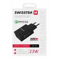SWISSTEN SÍŤOVÝ ADAPTÉR 2x USB QC 3.0 + USB, 23W ČERNÝ 22060200