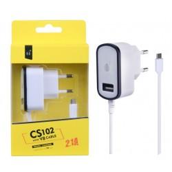 Nabíječka PLUS MicroUSB s USB výstupem 5V/2,1A, černá 2000072