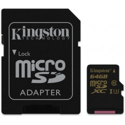 Kingston 64GB microSDXC Class U3 UHS-I 90R/45W + SD Adapter SDCG/64GB