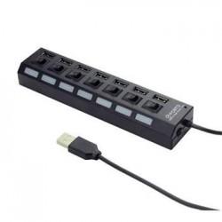 Gembird USB hub 2.0, 7 port, externí zdroj napájení, s vypínači,...