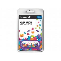 INTEGRAL Xpression 16GB USB 2.0 flashdisk, vzor puzzle INFD16GBXPRPUZZLE