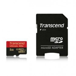 Transcend 8GB microSDHC (Class10) UHS-I 600x (Ultimate) paměťová karta (s adaptérem) TS8GUSDHC10U1