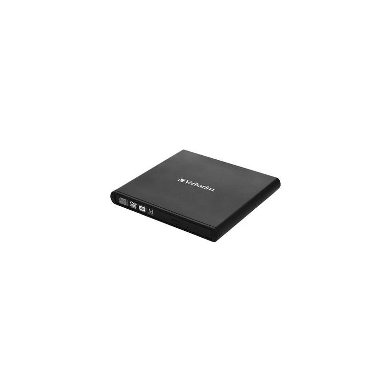 VERBATIM External Slimline CD/DVD Writer, 8× DVD, 24× CD, M-Disc, USB 2.0, SW Nero Burning Essentials, Mac/Win kompat. 98938