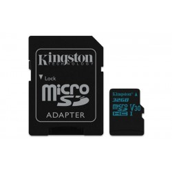32 GB microSDXC karta Kingston Class U3 UHS-I V30 (r90MB/s, w45MB/s) + adaptér SDCG2/32GB