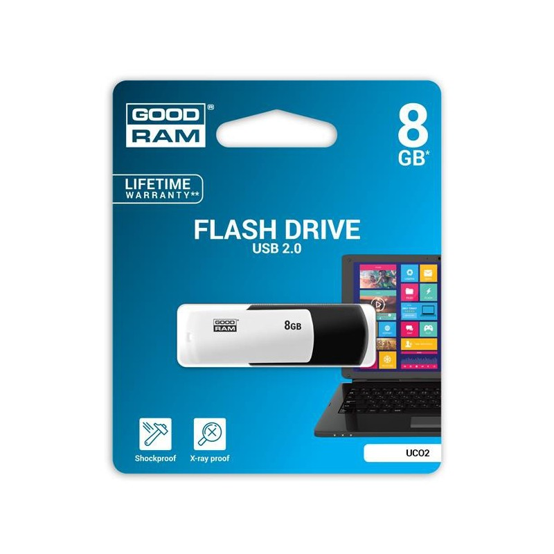 8 GB USB kľúč GOODRAM COLOUR Čierno-biela UCO2-0080KWR11