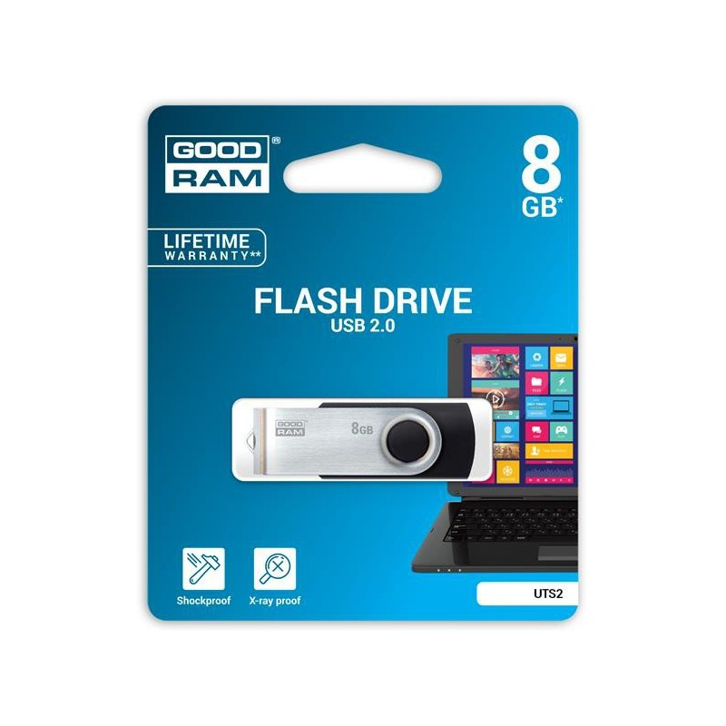 8 GB USB kľúč GOODRAM Twister Čierna UTS2-0080K0R11