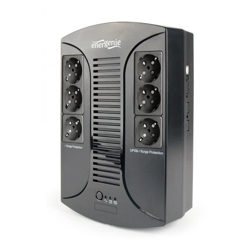 UPS Gembird Energenie Floor 650VA, AVR, LED, 6x schuko, USB, 230V OUT EG-UPS-DT650U-01