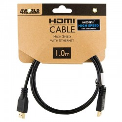 4World Kabel HDMI - HDMI High Speed s Ethernet (v1.4), 3D, HQ, BLK, 1m 08603