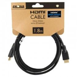 4World Kabel HDMI - HDMI High Speed s Ethernet (v1.4), 3D, HQ, BLK,...