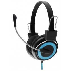 Esperanza EH152B FALCON Stereo slúchadlá s mikrofónom, ovl. hlasitosti, modré EH152B - 5901299908549
