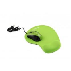 Esperanza EM125G Optická myš, 1200 DPI, USB + Gélová podložka, zelená, Blister EM125G - 5901299909164