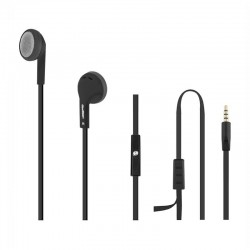 Qoltec Earphones | microphone | Black + silver 50805