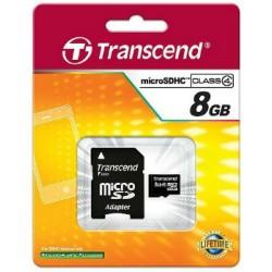 Transcend Micro SDHC karta 8GB Class 4 + Adaptér TS8GUSDHC4