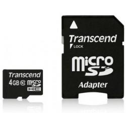 Transcend Micro SDHC karta 4GB Class 10 + Adaptér TS4GUSDHC10