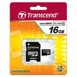 Transcend Micro SDHC karta 16GB Class 4 + Adaptér TS16GUSDHC4