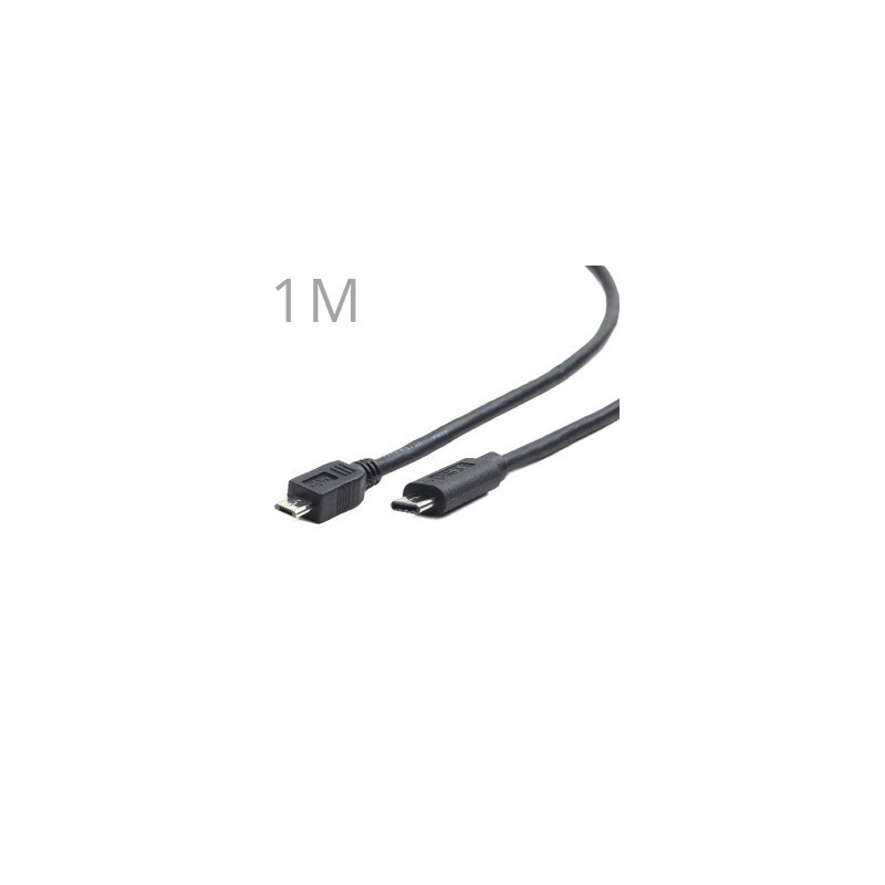 GEMBIRD Kábel Micro USB 2.0 - USB 3.1 Type C 1M CCP-USB2-mBMCM-1M