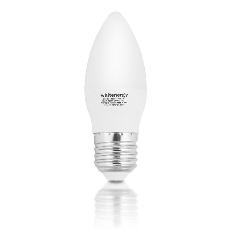 Whitenergy LED žiarovka | 10xSMD2835| C37| E27 | 5W | 230V | teplá biela| mlieko 10393