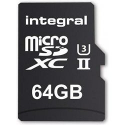 Integral microSDXC 280-100MB UHS-II V60 + SD Adapter, 64GB INMSDX64G-280/100U2