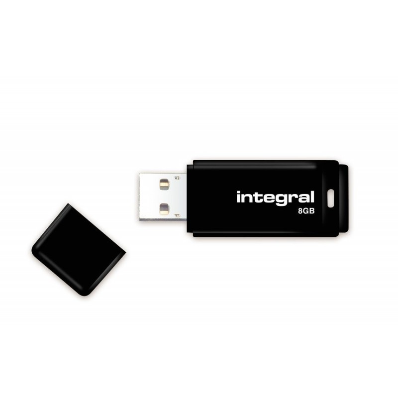 Integral USB 8GB Black, USB 2.0 with removable cap INFD8GBBLK