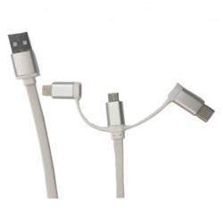 GEMBIRD Kábel USB 2.0 sc/Lightn+micro USB+Type C CC-USB2-AMLM32-1M-W